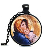 Virgin Mary with Child Glass Art Print Jewellery, Mother of Baby Jesus Christ Christian Catholic Religious Madonna