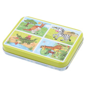 Dolland Jungle Animal Series Jigsaw Puzzle Sets, 4-Pack 4 Complexities, Wooden Animals Kids Puzzles Toys, Free Iron Box for Easy Storage,Giraffe