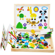 Lewo Wooden Magnetic Art Easel Educational Toys Animals Puzzle Double Side Board Games for Kids