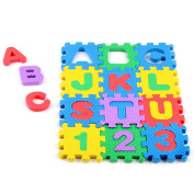 E-SCENERY 36 Tiles EVA Foam Rainbow Letters and Numbers Puzzle Play Mat, Kids Learn & Play with Interlocking Puzzle Pieces