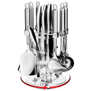 Best Choice Products Stainless Steel 13 Piece Kitchen Cooking Utensils w/ Knife Set & Rotating Display Stand