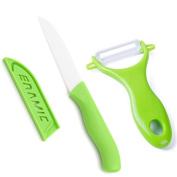 Ceramic Knife, Guuun Ceramic Cutlery Kitchen Knives with Sheath - Fruit Peeler - Knife Set, Green