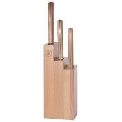 Laguiole L'Eclair Kitchen Knife Set, 3-pcs., Knife Block, Beech Wood