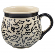 Traditional Polish Pottery, Handcrafted Ceramic Bubble Mug (350 ml /12.3 fl oz), Contemporary Pattern, Q.502.MELODY