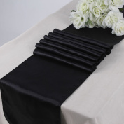 MDS Pack Of 10 Wedding 30cm x 270cm Satin Table Runner For Wedding Banquet Decoration- Black