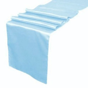 MDS Pack Of 10 Wedding 30cm x 270cm Satin Table Runner For Wedding Banquet Decoration- Baby blue