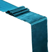 MDS Pack Of 10 Wedding 30cm x 270cm Satin Table Runner For Wedding Banquet Decoration- Dark teal