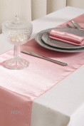 MDS Pack Of 10 Wedding 30cm x 270cm Satin Table Runner For Wedding Banquet Decoration- blush pink