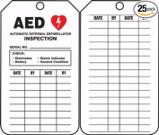Accuform TRM103CTP Safety Tags Specialty AED INSPECTION... 11cm x 5.4cm PF-Cardstock 25 PK
