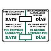 Weatherproof Plastic Dry Erase Days Without A Lost Time Accident Sign, with English & Spanish