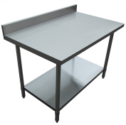 JET Stainless Steel Commercial Utility NSF Kitchen Prep and Work Table Holds Up to 410kg with 10cm Large Backsplash and Adjustable Galvanised Undershelf, 120cm Long x 80cm Wide, Silver