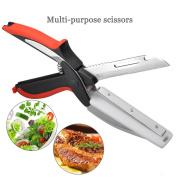 Stainless Steel Kitchen Scissors Universal Scissors kitchen Knife With Cutting Board Smart Cutter