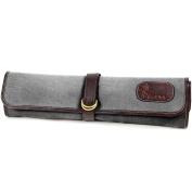 Boldric 7-pocket Hook Tie Knife Roll, Grey Canvas