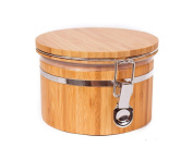 JapanBargain S-4092, Bamboo Food Coffee Canister Jar with Lid 13cm x 8.9cm , Small