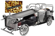 """BRUBAKER Wine Bottle Holder """"Classic Car"""" - Metal Sculpture - Wine Rack Decor - Tabletop - With Greeting Card"""