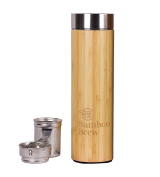 Bamboo Tumbler with Infuser & Strainer | Stainless Steel Coffee & Tea Flask | Double Wall Vacuum Insulated Travel Mug | Loose Leaf Detox Brew & Fruit Infusion Water Bottle | Eco Friendly Thermos 500ml