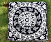 Black & White Elephant Mandala Floor Pillow Indian Tapestry Meditation Cushion Cover Square Ottoman Pouffe Cover Outdoor Dog / Cat / Pet Bed 90cm