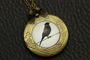 Necklace Locket,Black Bird Necklace Locket,Necklace,Handmade Necklace,Bowknot Bronze Necklace,Vintage Jewellery,Fashion Necklaces for Women