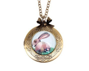 Necklace locket,Rabbit Necklace locket,lapin Necklace,Handmade Necklace,Bowknot Bronze Necklace,Vintage Jewellery,Fashion Necklaces for Women
