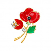 Poppy Flower Brooch Pin, ANZOME Multicolor Alloy Gorgeous Rhinestone Clothing- Type B