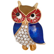 Owl Crystal Brooch Pin, ANZOME Multicolor Alloy Gorgeous Rhinestone Clothing- Type A