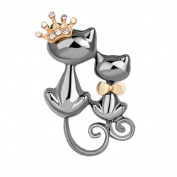 Cat Crystal Brooch Pin, ANZOME Multicolor Alloy Gorgeous Rhinestone Clothing