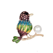 Hummingbird Crystal Brooch Pin, ANZOME Multicolor Alloy Pearl Gorgeous Rhinestone Clothing
