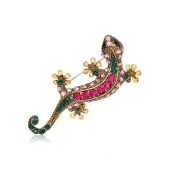 Gecko Crystal Brooch Pin, ANZOME Multicolor Alloy Gorgeous Rhinestone Clothing