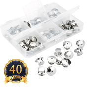 Pins Locking Backs Pin Locks Metal Pin, Wady 40 Pieces Pin Backs Locking Bulk Metal Pin Keepers Locking Clasp