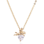 Angel Shape Lover Heart Pendant Necklace Jewellery with White Zircon 18K Gold Plated