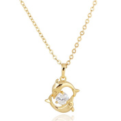 18K Gold Plated Dolphin Lovers Cross Link Spring Heads Chain Necklace Jewellery with White Zircon