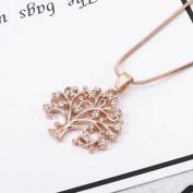 PetHot Tree Of Life Chain Pendant Women Necklace Crystal Rhinestone Beautiful Family Gift Jewellery Rose Gold