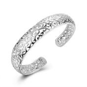 PetHot Bangle Hollow Flower Leaf Pattern Sterling Silver Plated Bracelet Trendy Wedding Jewellery For Women Ladies