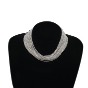 PetHot Choker Necklace Multi Row Diamante Rhinestone Crystal Bling Wedding Party Jewellery For Women Silver/Gold