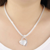 PetHot Necklace Women Silver Double Heart Pendant Chain Long New Fashion Jewellery