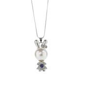 17YEARS Cute Rabbit Pendant Faux Pearl Rhinestone Sweater Chain Necklace Women Gift
