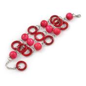 3 Strand Deep Pink/ Fuchsia Wood Bead and Loop Bracelet In Silver Tone Metal - 21cm L/ 5cm Ext