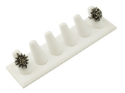White Leatherette 6 Ring Finger Display Stand