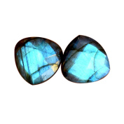 100% Natural Blue Flashy Labradorite Pair Cabochon, Matched Earring Pair, Faceted Cut,Calibrated AG-7934