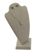 Grey Linen Bust with Earring Holes - 25cm high