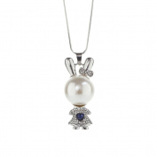Profusion Circle Cute Rabbit Rhinestone Faux Pearl Sweater Chain Necklace Women Gift