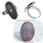 Silver Ring Stand 22 x 32 mm Oval Rim, Resin, Cabochon, Polymer Clay,