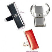 Ring Stand Silver Rectangular 12 x 35 mm Flange, Resin, Cabochon, Polymer Clay,