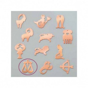 Copper Pendant Libra Astrological Sign, 27 x 32 mm, Draught Cold Efcolor Enamelling