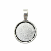 NEWME 18Pcs 18mm Round Inner Size Antique Silver Plated Perforation Single Side Side-On Cameo Cabochon Base Setting DIY Crafts Photo Glass Blank