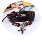 Wawer Women Girls Personalised Bracelet Cross Unique Multilayer Handmade Wristband Decration for Daily Party School Hip Pop