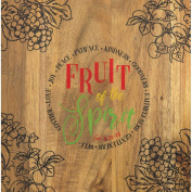 Fruit Of The Spirit Grapes And Berries 8 x 8 Acacia Wood Kitchen Cutting Board