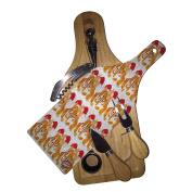 Wine & Cheese Glass Cutting Board Gift Set - Christmas Corgis Santa Hats Corgi Dog Modern Art by Denise Every