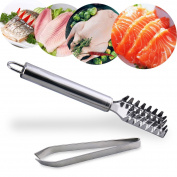 Joyoldelf Fish Bone Tweezer & Fish Scale Skin Remover, Stainless Steel Plier and Fishbone Picker Puller Fish Descaler Perfect for Salmon, Bass, Catfish, Meat and Chicken