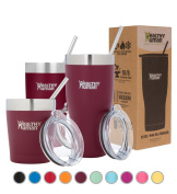 Healthy Human Insulated Tumbler Cruisers with Stainless Steel Straw & Clear Lid - Keeps Hot & Cold Beverages 2 Times Longer - Vacuum Double Walled Thermos 350ml Merlot